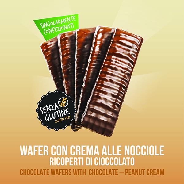 Wafer con crema di nocciole ricoperti di cioccoloato